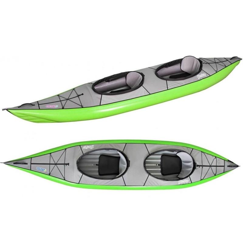 Kayak gonflable vu de haut et incliné